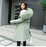Cotton Liner Parker Adjustable Waist Fur Collar Jacket