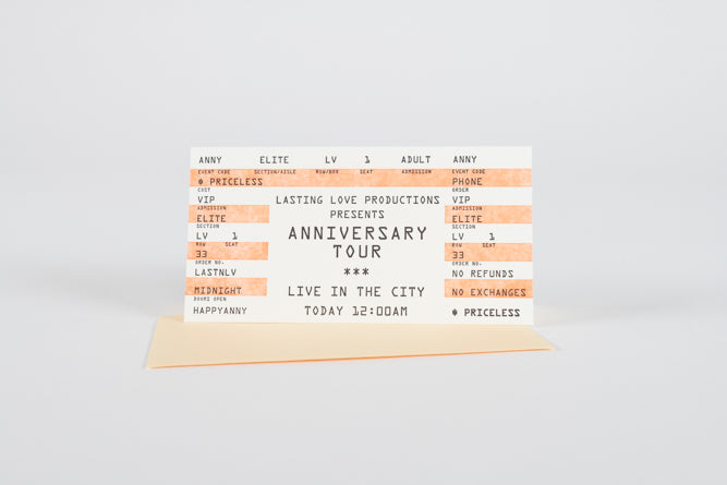 Anniversary Tour Ticket Card