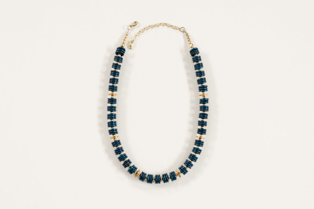 Blue Stacked Bone Necklace