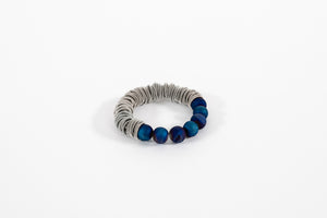 Piano Wire and Geode Bracelet