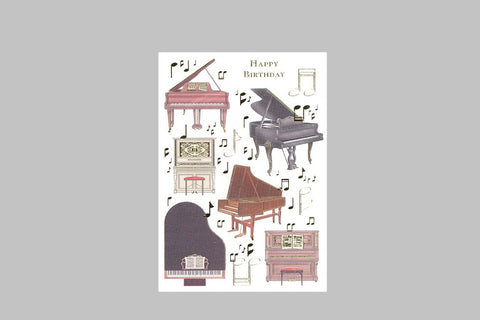 Happy Birthday Piano Music Card