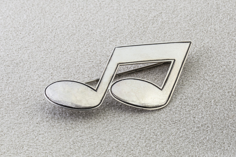 Sterling Silver Eighth-Notes Pin