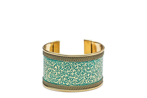 Metal Impression Teal Cuff
