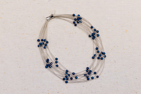 Piano Wire and Geodes Necklace