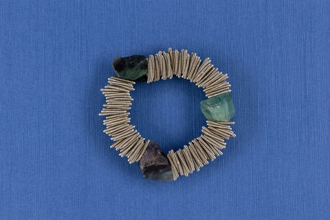 Piano Wire Bracelet with Fluorite