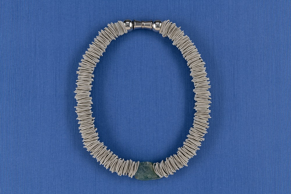 Piano Wire Necklace with Fluorite