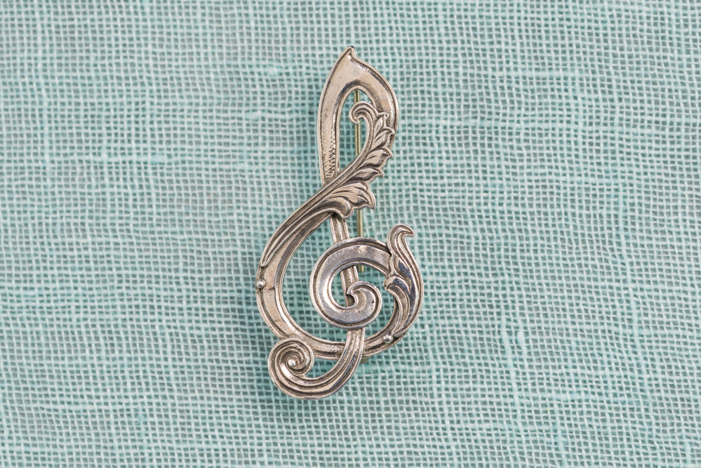 Sterling Silver Treble-Clef Pin