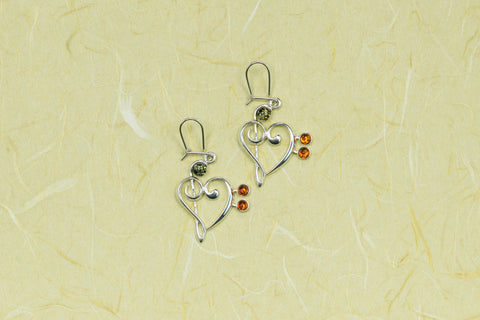 Amber Treble/Bass Clef Heart Earrings