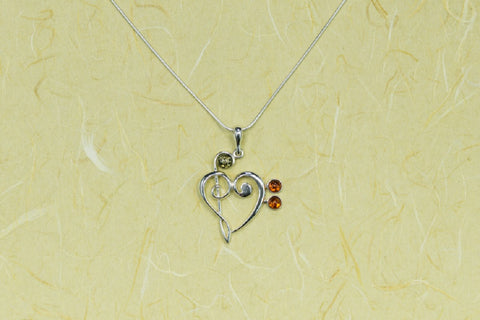 Amber Treble/Bass Clef Heart Necklace