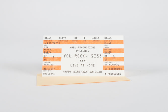 You Rock, Sis! Birthday Ticket Card