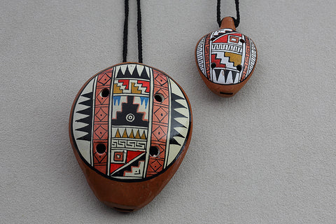 Geometric-Patterned Ocarinas with Necklace