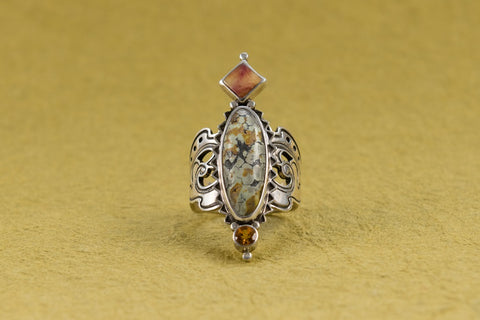 Agate, Shell, and Citrine Ring