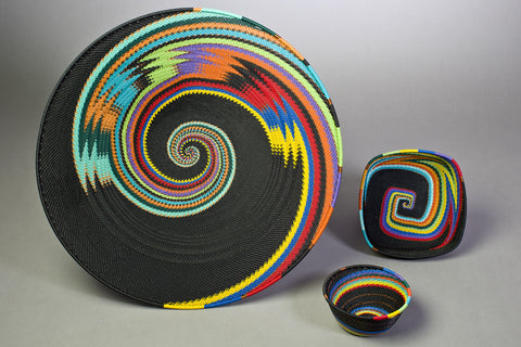 African Telephone Wire Baskets - African Rainbow