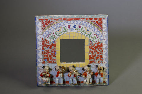 Mosaic-Framed Mirror: Dog Musicians