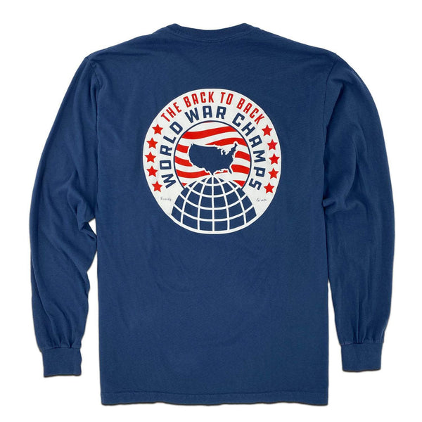 RiverCity Sportswear Long Sleeve Pocket Tee Small / Navy / Standard Fit World War Champs v3