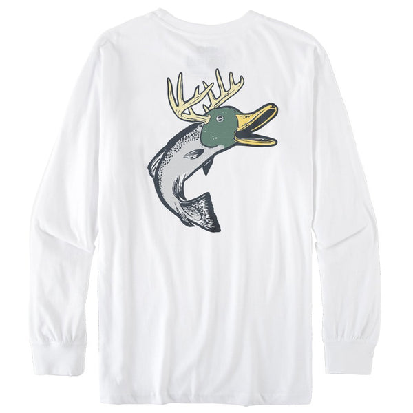 Rowdy Gentleman Long Sleeve Pocket Tee Duck Fish Deer