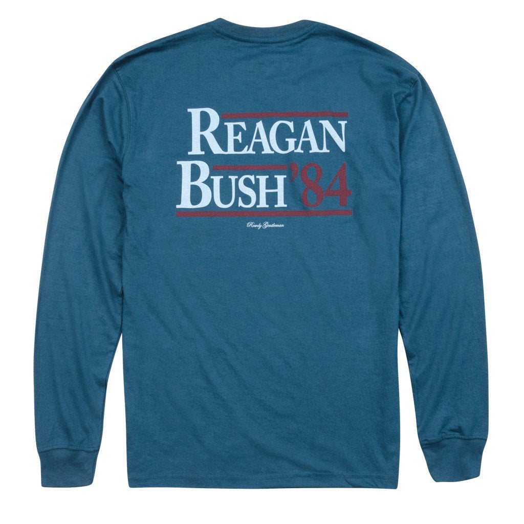 Rowdy Gentleman T-Shirt (Clearance) Reagan Bush '84 Long Sleeve Pocket Tee