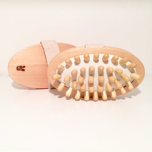 wood circulation/massage brush for the body