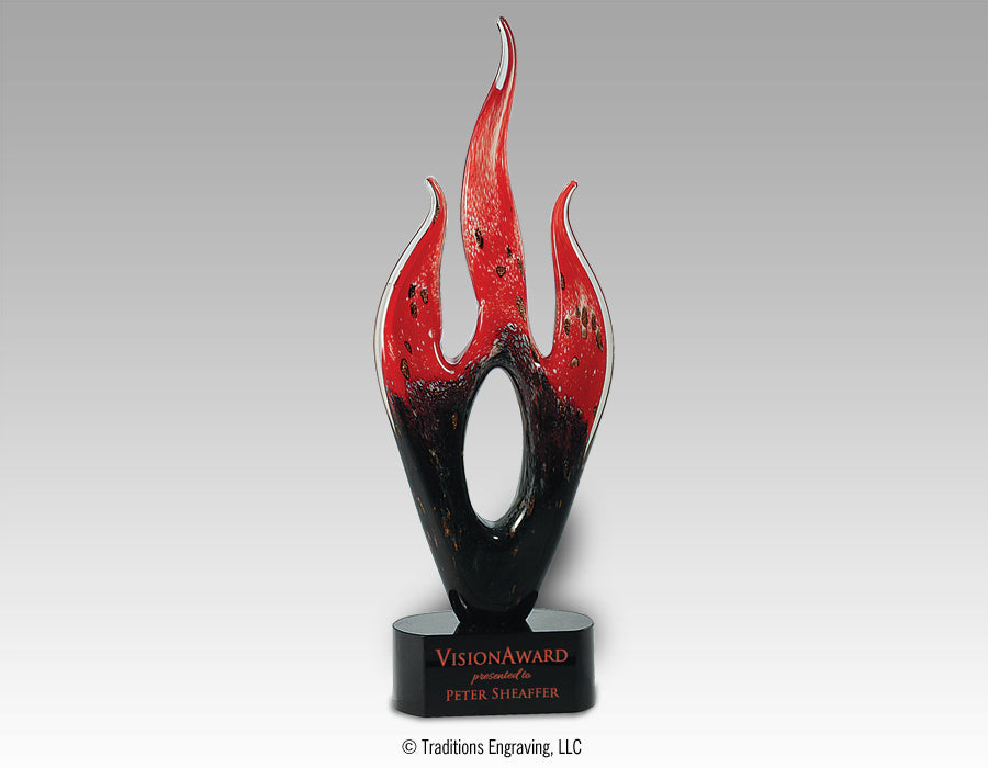 Art Glass - Red and Black Flame
