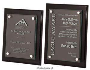 High-Gloss Wood and Glass Plaque