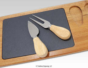 Acacia Wood/Slate Serving Board with Utensils