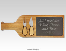 Load image into Gallery viewer, Acacia Wood/Slate Serving Board with Utensils