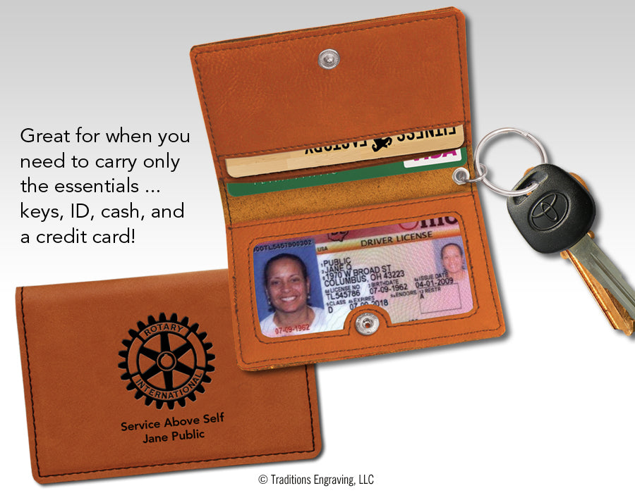 Leatherette Keychain ID Holder