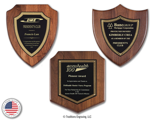 Walnut Mini Shield Plaques
