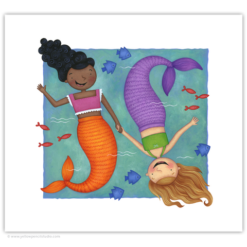 """Mermaid Best Mates"" Archival Print - Yellow Pencil Studio"