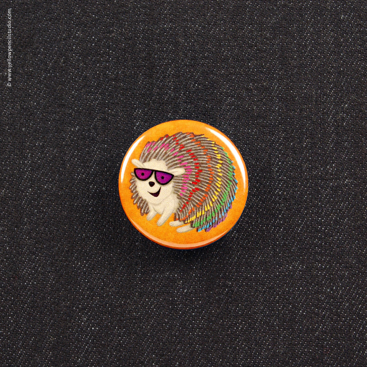 Rainbow Hedgehog Button - Yellow Pencil Studio