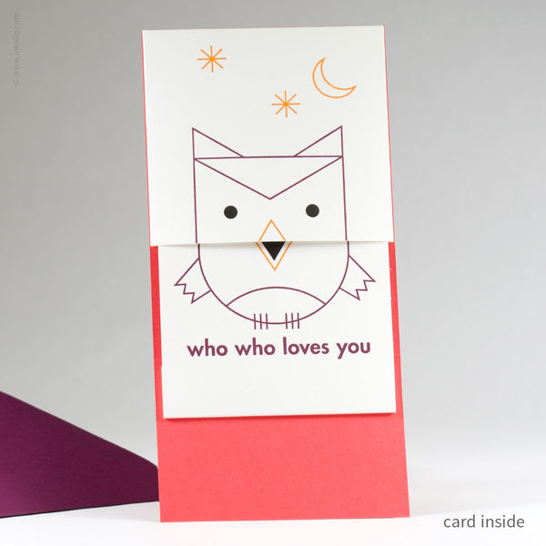 Peek-a-Boo Owl Who Who Loves You Card (#506) - Yellow Pencil Studio