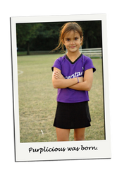 Soccer Girl in Purple Sports Jersey and Black Skort