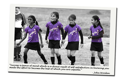 Purple Girls Soccer Jersey - Success is peace of mind which is a direct result of self-satisfaction in knowing you made the effort to become the best of which you are capable. - John Wooden