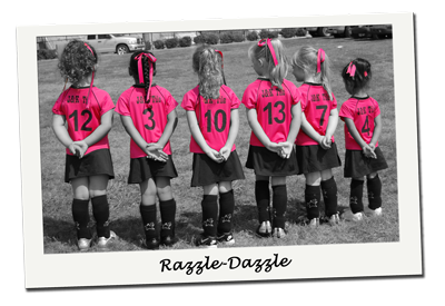 The cutest pink girls soccer uniforms around.