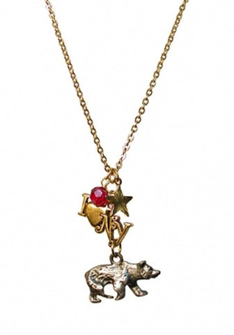 I Love NY California Bear Charm Necklace-Pretty Little Thing