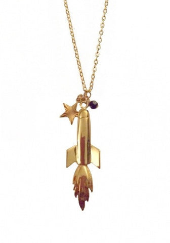 Rocket Ship Charm Necklace-Pretty Little Thing