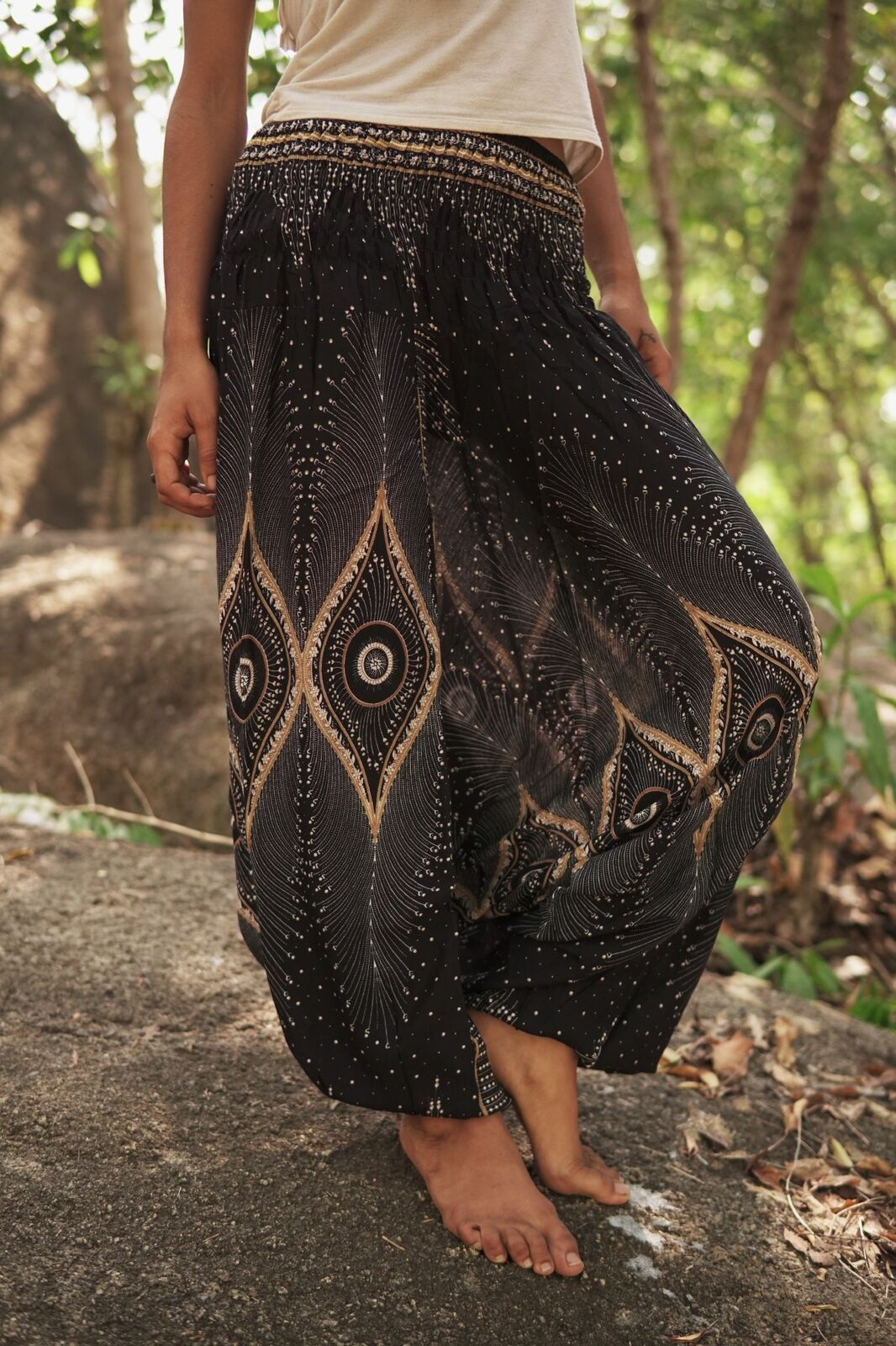 Harem pants – Diamond Peacock Feather – Black