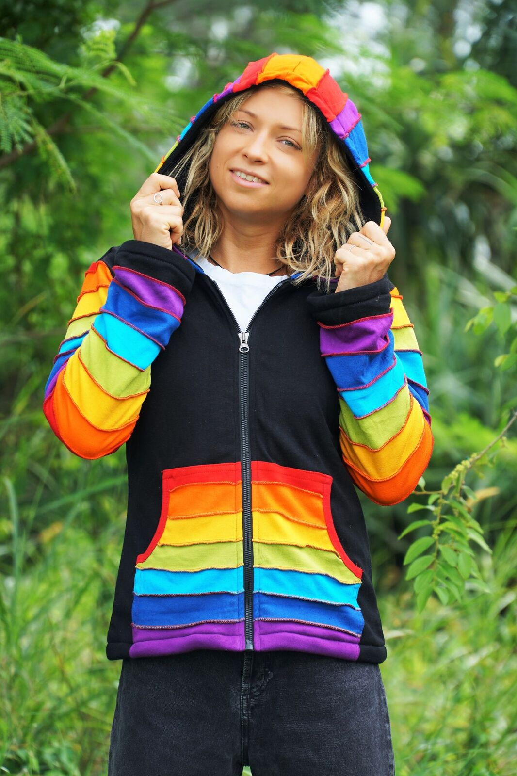Hoodie - Fleece Lined - Black & Rainbow Pixie Hood