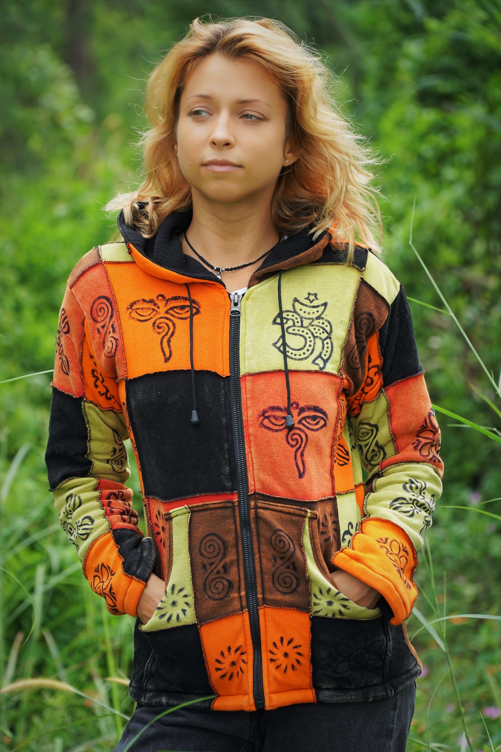 Hoodie - Fleece Lined - Patchwork Orange & Black with Buddha Eye