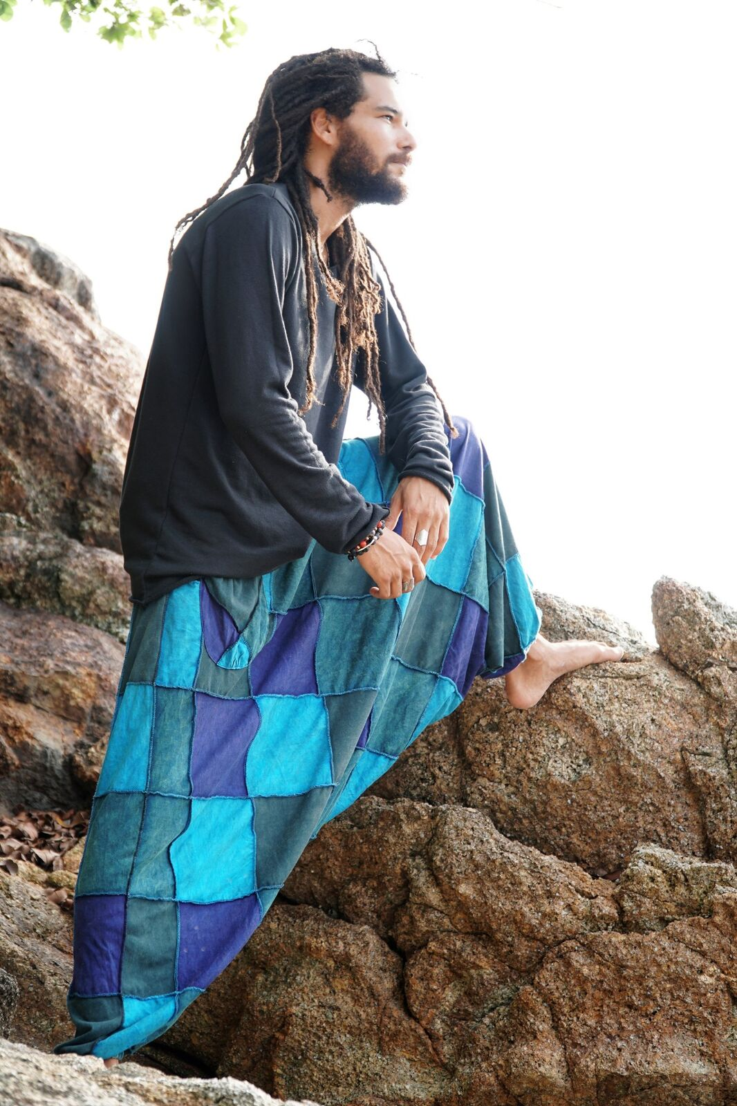 Harem Pants - Patchwork - Blue