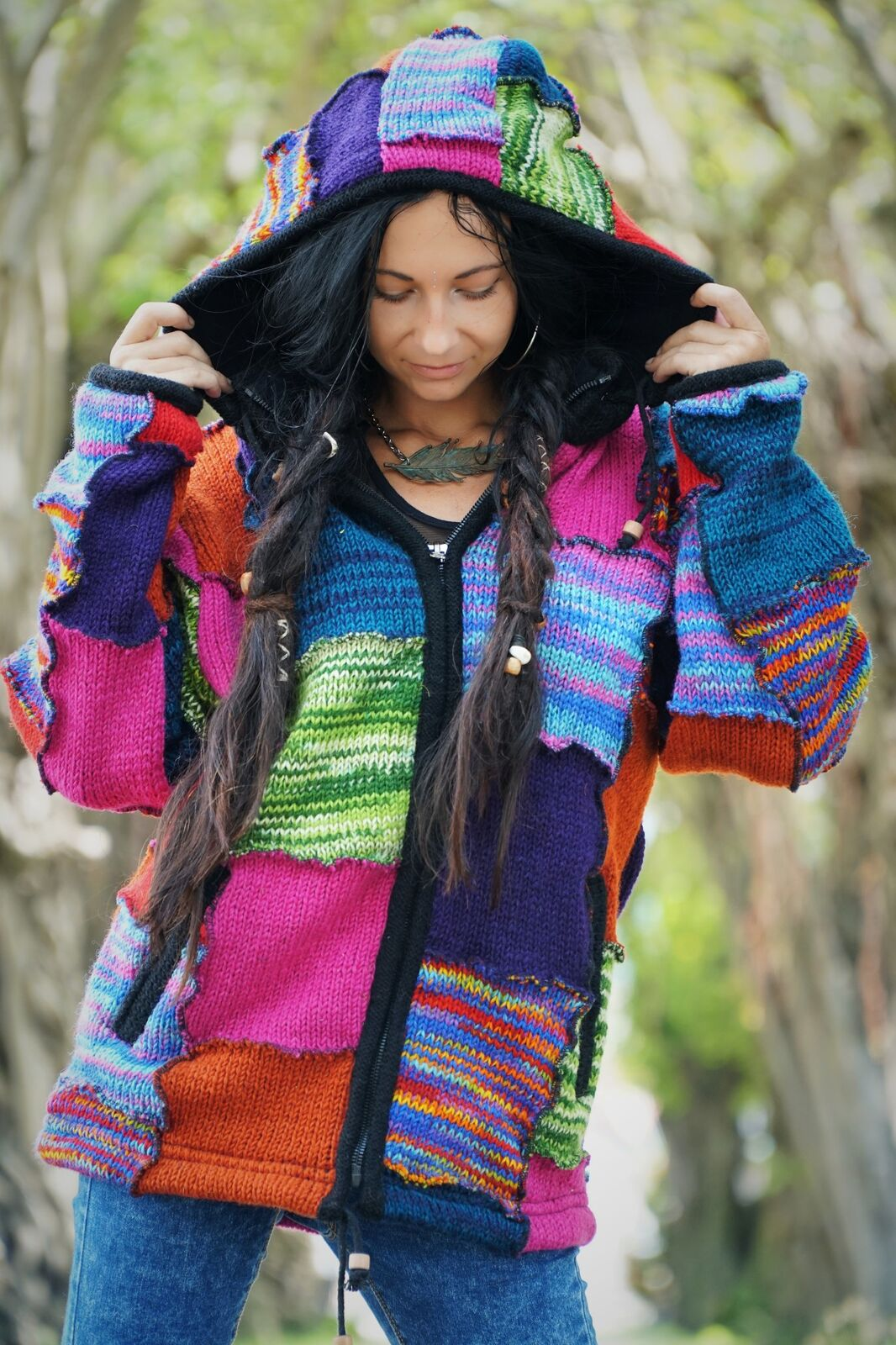 Wool Jacket -  Interlocking Colourful Rainbow Patchwork
