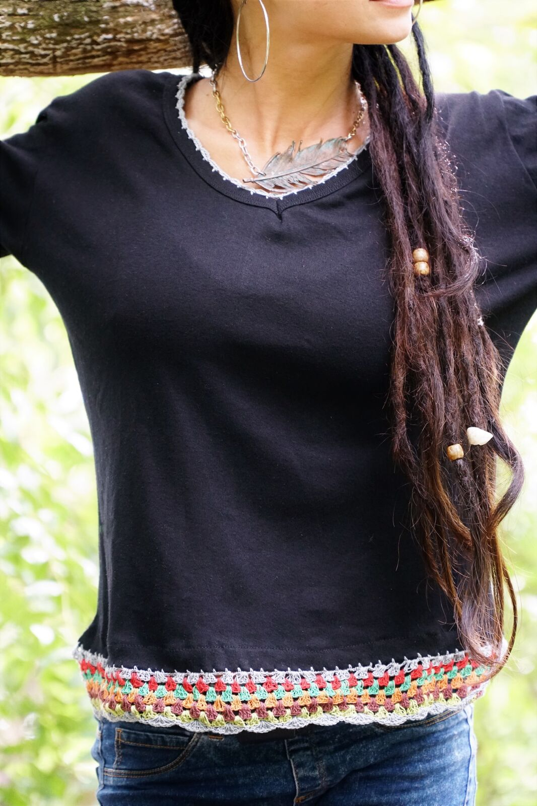 Long Sleeved Top with Colourful Crochet Design