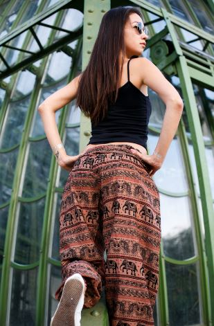High Cut Harem Pants - Tribal Elephant Print - Brown