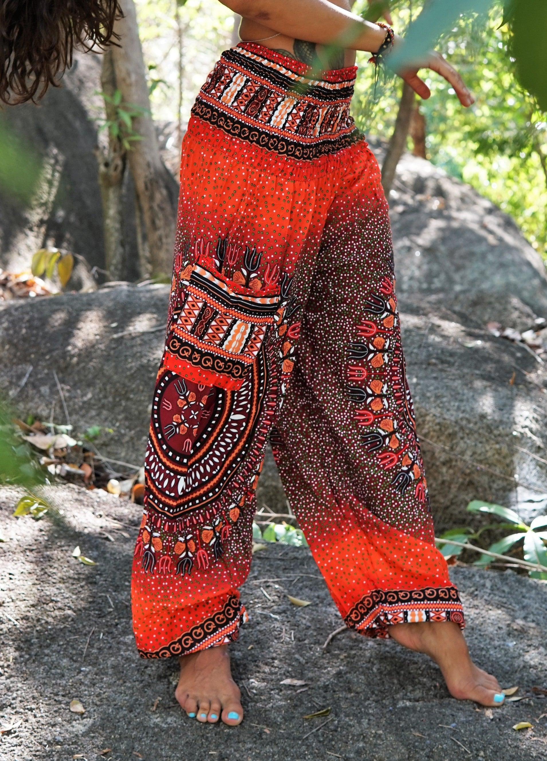 High Cut Harem Pants - Tribal Chakra - Red