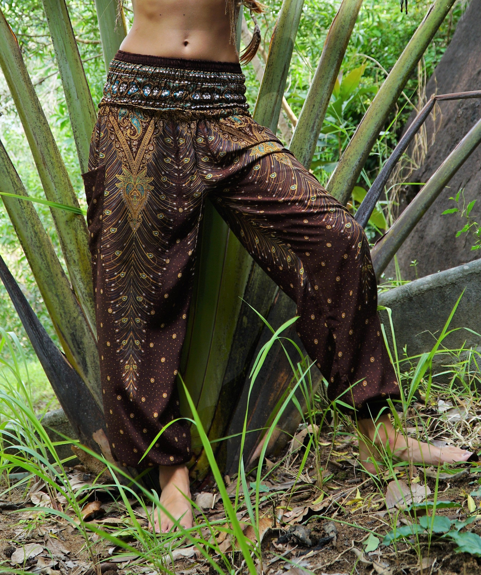High Cut Harem Pants - Peacock Feather – Brown