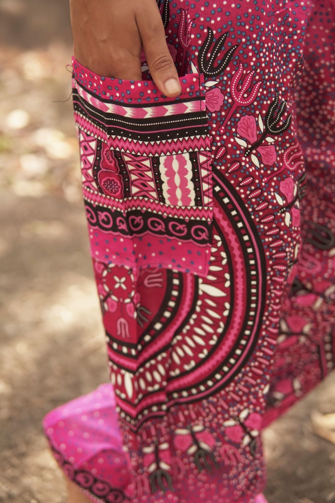 High Cut Harem Pants - Chakra Pattern- Pink