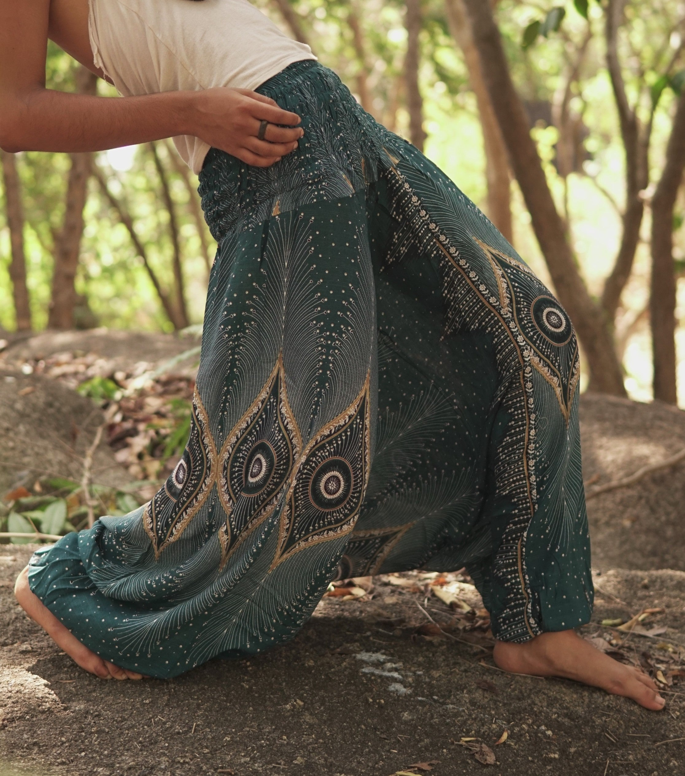 Harem pants – Diamond Peacocks – Teal