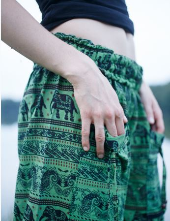 High Cut Harem Pants - Elephant Print - Green