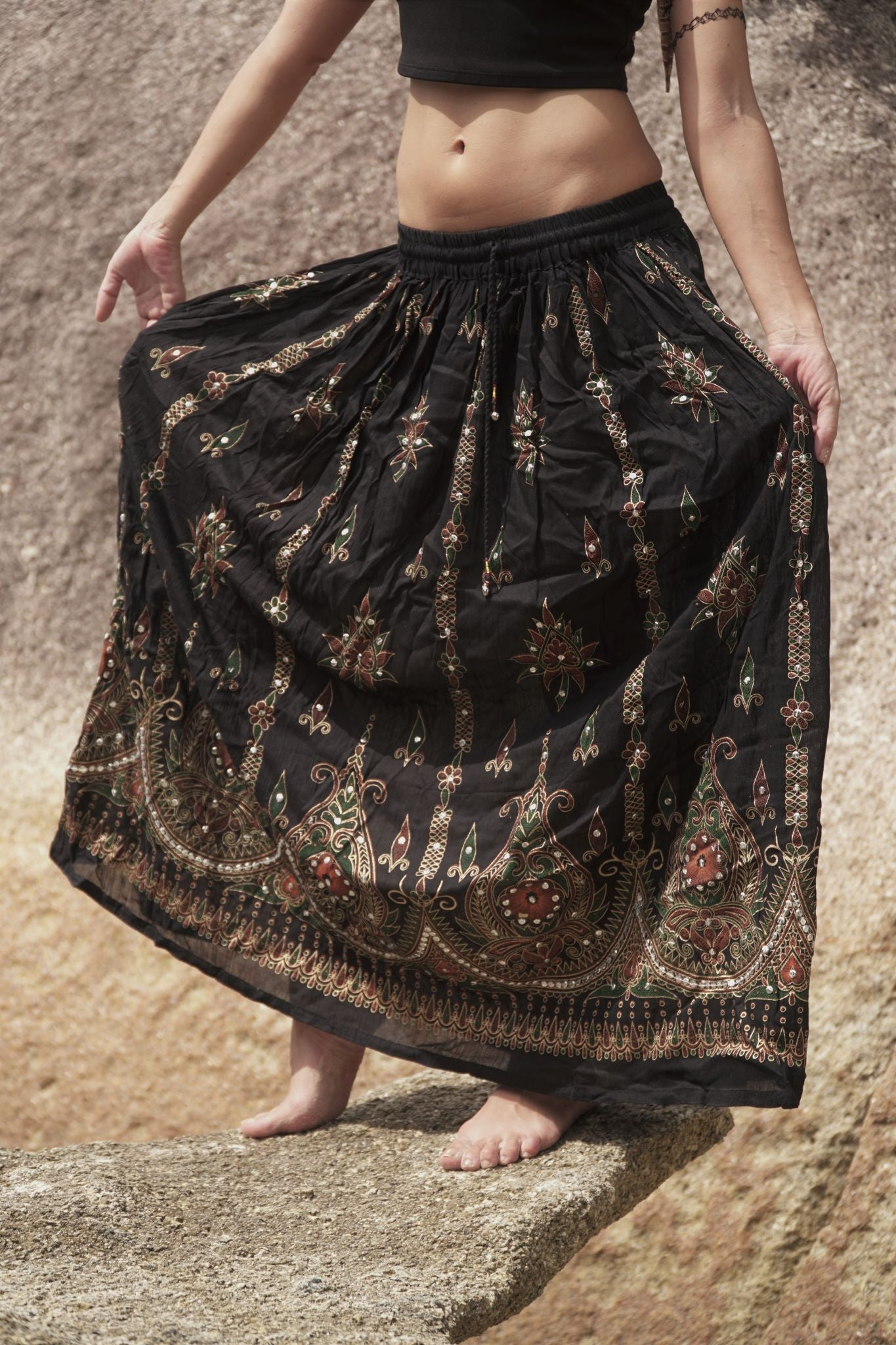 Boho Skirt - Black & Burnt Orange