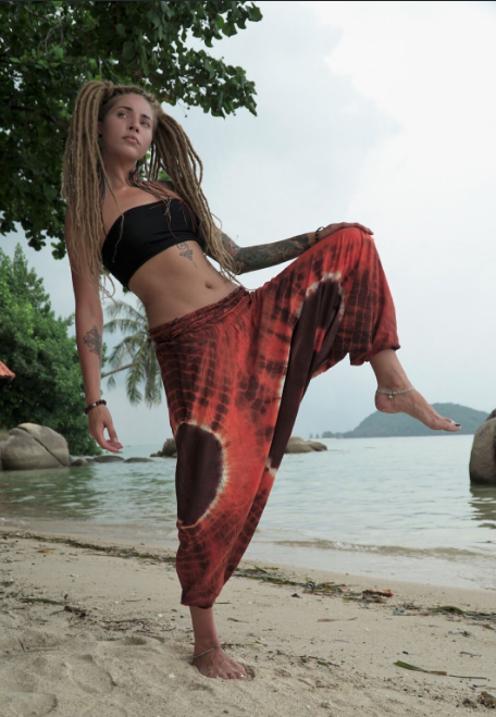 Harem Pants - Tie Dye - Orange & Brown